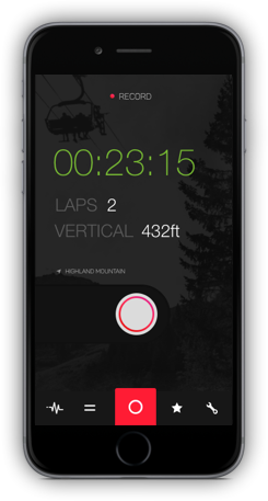 iOS app screen shot showing a user recording a bike park session