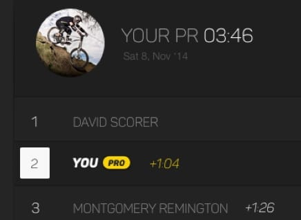 Screen grab of the BikeParkPRO Leaderboard